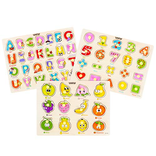 TOYMYTOY Holzpuzzles Spielzeug Set Buchstaben und Nummer, Geometrischen Obst Puzzles Klassische Lehrspielzeuge Puzzles für Kinder, Jungen und Mädchen Geschenke für Erziehung und Lernen