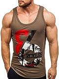 BOLF Herren Tank Top T-Shirt Aufdruck Motiv Sport Style Madmext 2463 Khaki L [3C3]