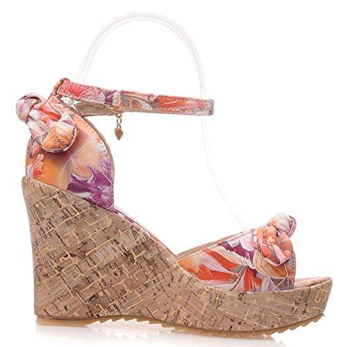 Damen Blumendruck Sandalen Keilabsatz High-Heel Knöchelriemchen Schleife Orange