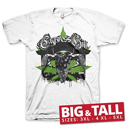 Cypress Hill Officiellement sous Licence hoodlum Big & Tall 3XL,4XL,5XL T-Shirt Pour Hommes (Blanc), 5X-Large