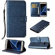 Galaxy S7 Edge Coque, BoxTii® Housse Etui en Ciur avec Stand et Porte Cartes [avec Gratuit Protection D'écran en Verre Trempé], Antichoc Protection Coque Cover Case pour Samsung Galaxy S7 Edge (#2 Bleu)