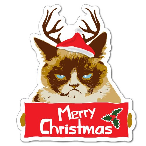 Grumpy Cat Merry Christmas Xmas Santa Hat Sticker Decal Funny Vinyl Car Bumper