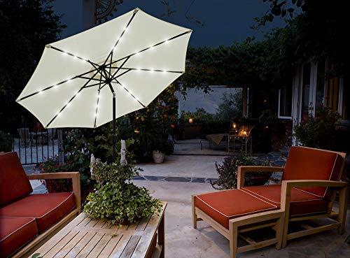 GlamHaus Parasol de jardín inclinable con Luces LED solares 2,7 m para...