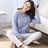 moxin Damen Baumwolle Pyjamas Langarm Top Set PJs Long Top, M, G
