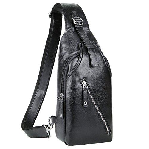 LAIDAYE Männer Casual Schulter Umhängetasche Business-Paket Schultertasche Tasche Brust Black
