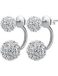 VANKER Pendientes del cristal del Rhinestone Nueva Vogue Doble Recubrimiento del diseño de la bola de plata de la joyería