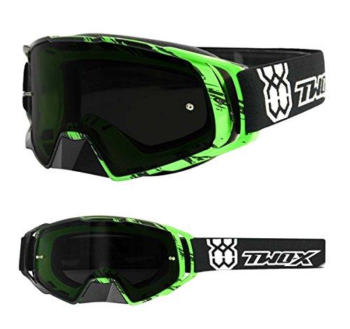 TWO-X Rocket Crossbrille Crush schwarz grün Glas getönt grau MX Brille Nasenschutz Motocross Enduro Motorradbrille Anti Scratch MX Schutzbrille Nose Guard