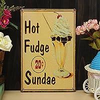 Bluelover Hot Fudge Sundae ferro disegno lamiera pittura latta Cafe Pub parete Poster segno