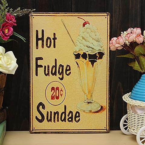 Bluelover Hot Fudge Sundae Fer Dessin Tôlerie Peinture Étain Cafe Pub Mur Affiche Signe