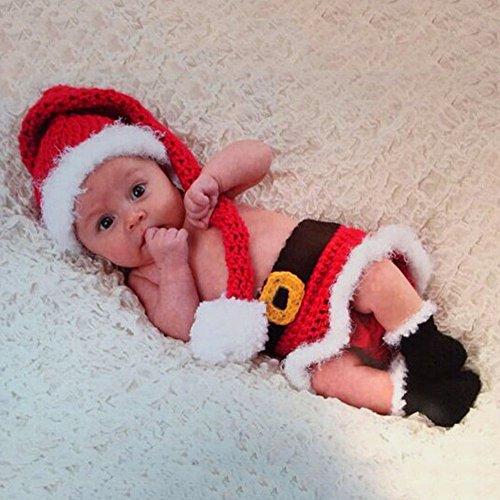 HAPPY ELEMENTS Infant Neugeborenen Kostüm Fotografie Prop Strick SANTA CLAUS (Santa Outfit Baby)