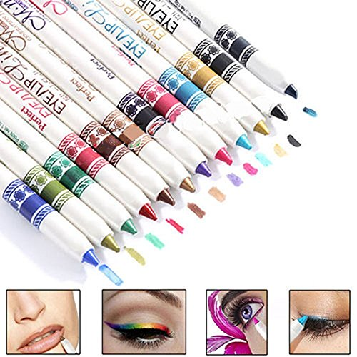 SAMGU 12PCS Waterproof Plastic Glitter Lipliner Eye Shadow Eyeliner Pen Ensembles de maquillage cosmétiques Salons de beauté professionnels