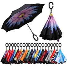Eono Essentials Double Layer Inverted Umbrellas Reverse Folding Umbrella Windproof UV Protection Big Straight Umbrella for Car Rain Outdoor with C-Shaped Handle