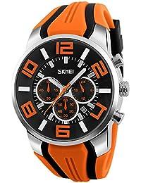 Mode Sport Bracelet en Silicone Trois Yeux Montre à Quartz Homme, Orange