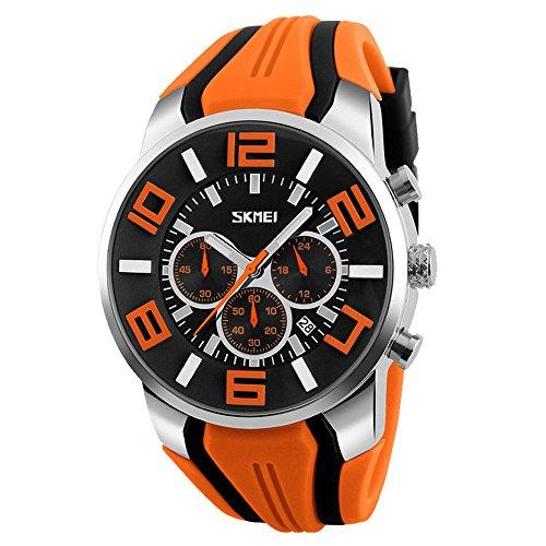 Mode Sport Herrenuhren - Silikon Armband Sub-Dials Chronograph Stoppuhr Analog Datum Quarzuhr Armbanduhren für Männer, Orange