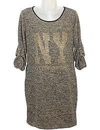 Damen Feinstrick T-Shirt Kleid mit Nieten, MADE IN ITALY