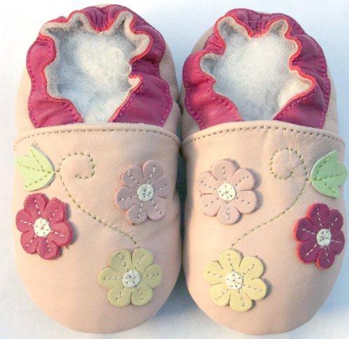 Lederhausschuhe Jinwood Krabbelschuhe Baby Hausschuhe 3 Blume rosa