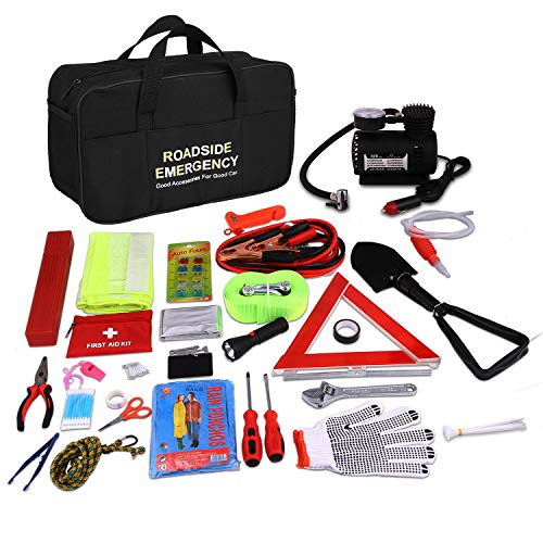 Auto Emergency Kit, Multifunktionale Pannenwerkzeugsets mit Starthilfekabel, Werkzeugtasche und Pannenwerkzeug, Sicherheitsweste, Abschleppseil, Taschenlampe, Reifendruckmessgeräte (13