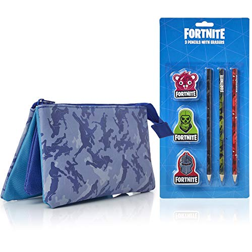 Fortnite Pencil Case Stationery Set for Boys Includes 3 Pencils And 3 Erasers | 3 Compartment Pencil Case and Pencils - Back to School Supplies Bundle Gifts for Gamers Boys Or Girls (Blue)