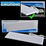 Grundig 72857 extra dünn Tastatur (QWERTZ, USB) weiß
