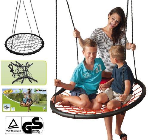 Preisvergleich Produktbild Happy People Nest Netzschaukel mit Netzsitzfläche, bis 100kg belastbar, 100 cm Ø // Nestschaukel Tellerschaukel Rundschaukel Schaukel bis 100 kg