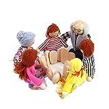 Lalang 6pcs Familie Holzpuppen / Biegepuppen für die Puppenstube Kinder Bildungs Holz Spielzeug