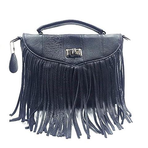 WANGWO High Quality Womens Genuine Cowhide Leather Handbag Tassels Flap Style Shopping Bag