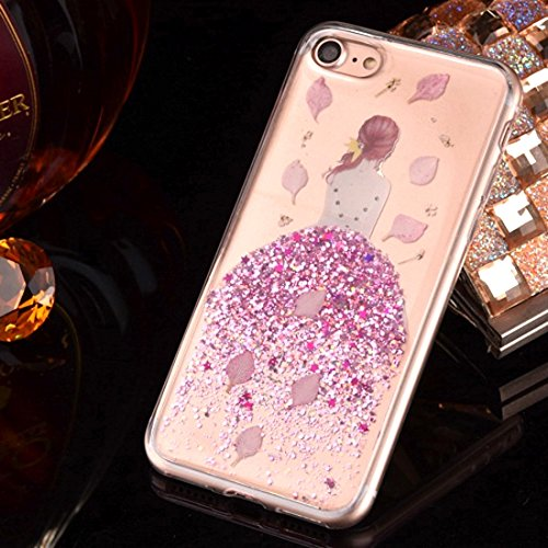 Für iPhone 6 Plus & 6s Plus Epoxy Dripping gepresste echte getrocknete fallende Blumen Glitzer Powder Girl weichen TPU Schutzhülle Back Cover by diebelleu ( Color : Yellow ) Magenta