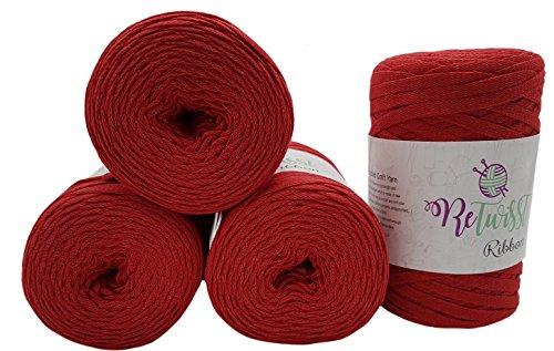 ReTwisst 1000 Gramm Textilgarn, 4 x 250 Gramm Jersey- Garn, gesamt ca. 480m Lauflänge, Stoffgarn, Auswahl (rot) -