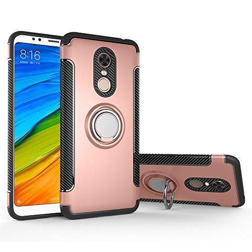 Funda Xiaomi Redmi 5 Plus, LAGUI Doble Capa Carcasa Con Anilla posterior, oporte de Montaje Magnético del Coche Cáscara Especial, rosa dorada
