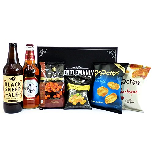 Gentlemanly Nibbles Food Indulgence Hamper Presented in a Keepsake Gift Box - Gift Ideas for Father's Day, Men, Dad, Him