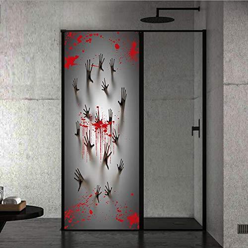 CDW Halloween Bloody Ghost Hand Druck Kreative 3D-Türaufkleber Persönlichkeit Holztür Zu Hause Dekoration Wandaufkleber (2 Stück) (Hand-drucke Halloween Für)