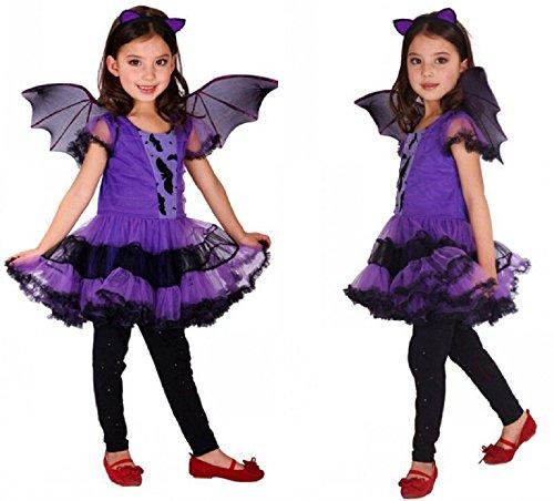 LadyMYP Halloween Cosplay Karneval Fasching verkleiden Kostüme Lila Batgirl mit Fledermausflügel und Bat Ohrstirnband (122/128)