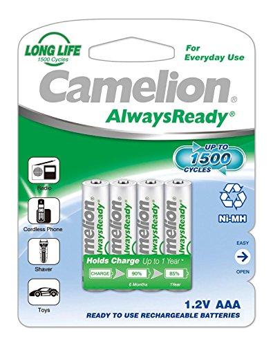 Camelion 17406403 Batterie Ni-MH, HR03/AAA/Micro, Chrome 600 mAh, Lot DE 4 HR3/AAA/Micro/600 mAh/4 Pièces Chrom