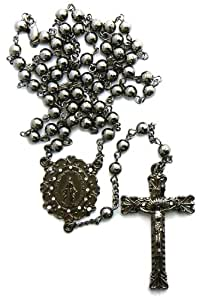 "Iced Out Hematite beads Hip Hop 36"" Rosary Necklace Hematite R14HE"