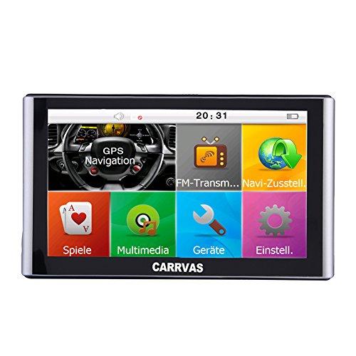 CARRVAS 7 Zoll Europe Traffic GPS Navi Navigationsgerät mit kostenlosen lebenslangen Kartenupdates für ganz Europa für LKW KFZ TAXI Fahrspurassistent Sprachführung Blitzerwarnungen 8GB