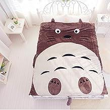 Funda de edredón lavable y extraíble de suave de franela con diseño de dibujos animados (Totoro/gato o búho), de MeMoreCool, algodón, Grey Totoro, 1Piece