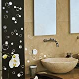 88 Waterproof Floating Bubble Loose Stickers Choose from 20 Colours Bathroom Tile Window Wall Art - Chrome