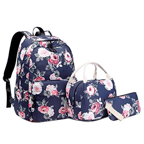 Neuleben 3 Teile Schulrucksack & Kühltasche & Geldbörse für Damen Mädchen Kinder Wasserabweisend Rucksack Schultasche mit Blumenmuster (Blau)