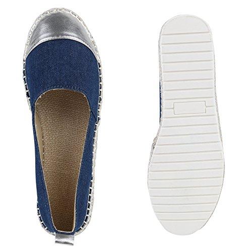 Damen Slipper Espadrilles Bast Strass Flats Freizeit Schuhe Blau Bernice