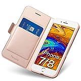 Coque iPhone 7/8, Ultra Mince Portefeuille (Emplacement pour Cartes + Fermeture Magnétique) Rabat Flip Case - Clapet Folio Étui, Cuir PU Housse + TPU Bumper Antichoc de Protection Apple 4,7 (Or Rose)
