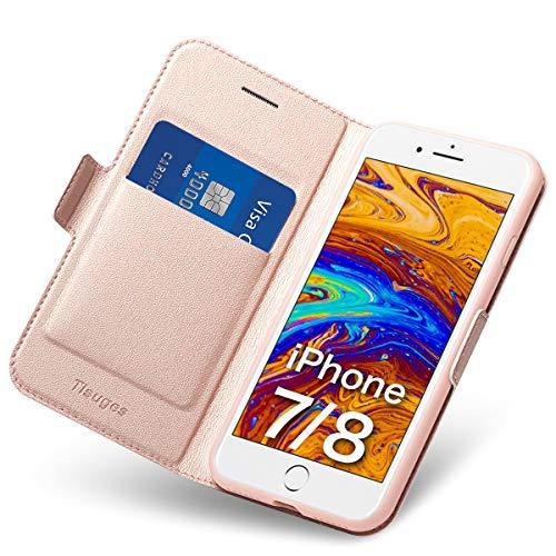 Tisuges iPhone 8 Hülle iPhone 7 Schutzhülle iPhone 8 Leder-Etui aus Leder Folio-Hülle Schutzhülle PU + TPU Soft Shockproof Flip-Cover und Ständer mit Kartenhalter (Rose Gold) 7-leder Etui