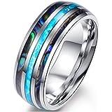 Blowin, anello di fidanzamento da 8 mm, in acciaio inox, per uomini e donne, comodo da indossare, in legno e conchiglia di ab