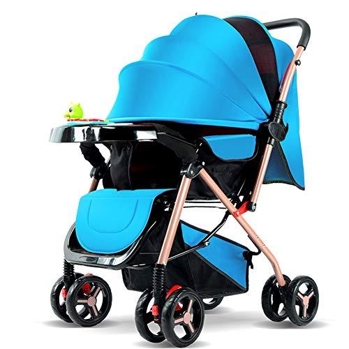 AZW Baby Kinderwagen Tragetasche und Kinderwagen, leichte Klappbuggy bis zu 25 kg mit Liegeposition kann sitzen und Legen einfache Regenschirm vierrädrigen Kinderwagen,Blue