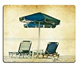 Liili Mouse Pad Natural Rubber Mousepads Vintage photo of chairs and umbrellas on