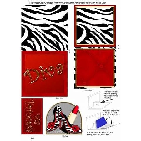 Estampado de cebra zapatos Diva Mini 3D Pop-up Tarjeta de Ann-Marie Vaux