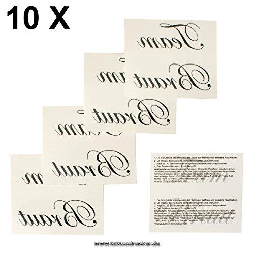 Preisvergleich Produktbild 10 x Team Braut Tattoo Set - JGA - Junggesellinnenabschied - Hochzeit + Gratis Braut