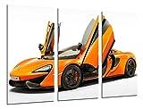 Wandbild - Bild Sportwagen, McLaren 570S, Orange, 97x 62cm, Holzdruck - XXL Format - Kunstdruck, 26507