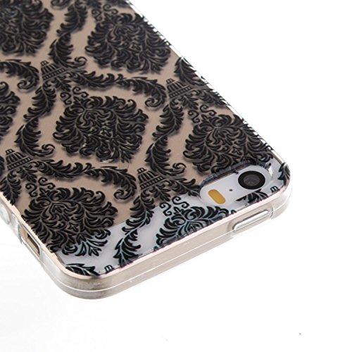 Coque iPhone 5S,Coque iPhone SE,Coque iPhone 5,Étui iPhone 5S,ikasus® Coque iPhone 5S 5 / iPhone SE Silicone Étui Housse Téléphone Couverture Transparent TPU avec Black peinte Motif Mandala de fleurs  Noir Totem Fleur # 2