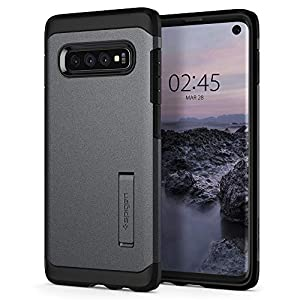 Spigen Tough Armor Galaxy S10 Case Cover with Extreme Shockproof Protection and Integrated Kickstand for Samsung Galaxy S10 (2019) - Graphite Gray
