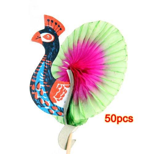 toogoor-50pcs-colorful-peacock-pattern-cocktail-drink-fruit-cake-sticks